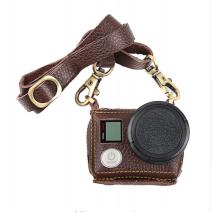 Husa de protectie din piele pentru GoPro Hero 3+ 4 cu filtru UV si curea GP390