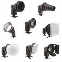 Kit pt blitz patina SGA-K9 - snoot, grid, beauty dish, globe diffuser, barndoor, softbox cu montura universala