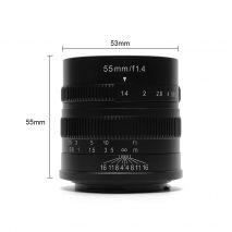 Obiectiv manual 7Artisans 55mm F1.4 negru pentru Sony E-mount