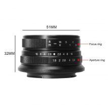 Obiectiv manual 7Artisans 25mm F1.8 negru pentru FujiFilm FX-mount