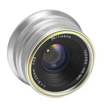 Obiectiv manual 7Artisans 25mm F1.8 gri pentru Canon EOS-M