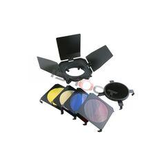 Barndoor Aputure BD-4S cu honeycomb si 4 filtre colorate pt blitz studio