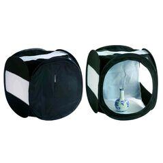 Cort de difuzie pliabil negru cu benzi laterale albe pentru fotografie de produs 60cm