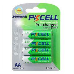 PKCELL Set 4 acumulatori PRE-incarcati AA/ R6 2600mAh