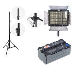 Kit lumina continua Lampa Yongnuo YN600L+ 2x Acumulatori Dste NP F+ incarcator DUBLU+ stativ 270CM