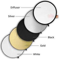 Blenda reflexie-difuzie 5 in 1 difuzie gold silver negru alb rotunda 60cm