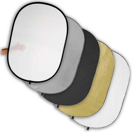Blenda reflexie-difuzie 5 in 1 difuzie gold silver negru alb ovala 150x200cm