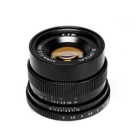 Obiectiv manual 7Artisans 35mm F2.0 negru pentru Sony E-mount
