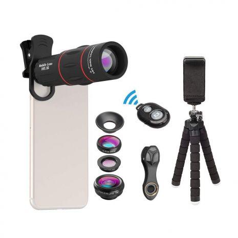 Kit lentile conversie Apexel APL-T18XBZJ5 4 in 1 mini trepied cu suport pentru smartphone si telecomanda bluetooth