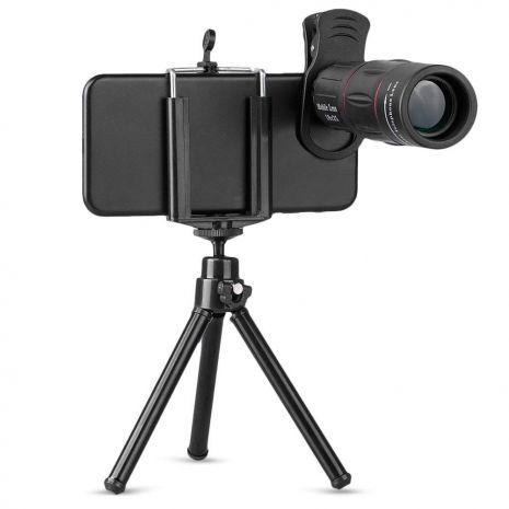 Lentila conversie telescopica Apexel APL-T18ZJ 18X cu mini trepied si suport pentru smartphone