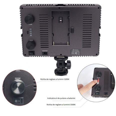 Lampa foto-video AIR-1000B cu 160 LED-uri, CRI 95 cu temperatura de culoare reglabila 3200-5500K