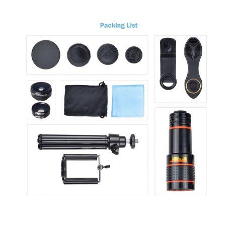 Kit lentile conversie Apexel APL-HS12XDG3ZJ 4 in 1 si mini trepied cu suport pentru smartphone