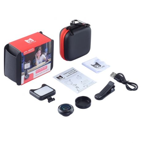 Kit lentile conversie  wide-angle / macro Apexel APL-3663FL cu lampa LED pentru smartphone