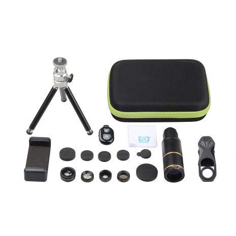 Kit lentile conversie Apexel APL-JS16X104D5 6 in 1 mini trepied cu suport pentru smartphone